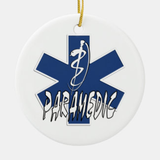 Paramedic Action Double-Sided Ceramic Round Christmas Ornament