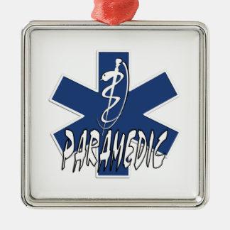 Paramedic Action Square Metal Christmas Ornament
