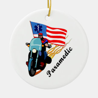 Paramedic Bikers Double-Sided Ceramic Round Christmas Ornament