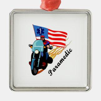 Paramedic Bikers Square Metal Christmas Ornament