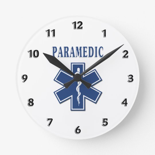 Paramedic Blue Star of Life Round Clock