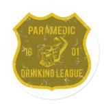 Paramedic Drinking League Classic Round Sticker