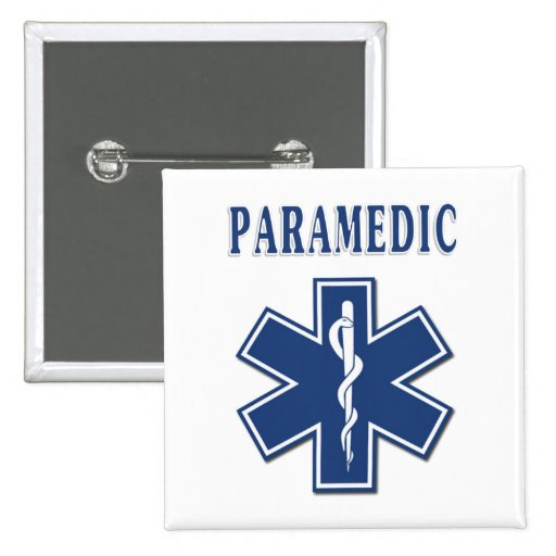 Paramedic EMS Button Square Style