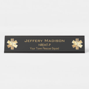 Paramedic EMT EMS Black and Gold Desk Name Plate & Paramedic Gifts on Zazzle