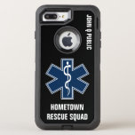 "Paramedic EMT EMS Name template OtterBox Defender iPhone 8 Plus/7 Plus Case<br><div class=""desc"">Perfect for paramedics,  EMT and EMS A-EMCA or anyone in medicine and first response. Rod of Asclepius design. with your name and station.</div>"