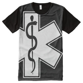 Paramedic EMT EMS White on Black All-Over-Print Shirt