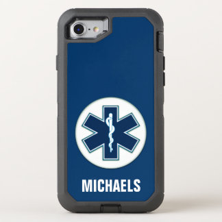 Paramedic EMT EMS with Name OtterBox Defender iPhone 8/7 Case