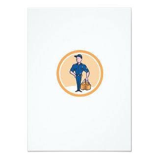 Paramedic Holding Bag Circle Cartoon 11 Cm X 16 Cm Invitation Card