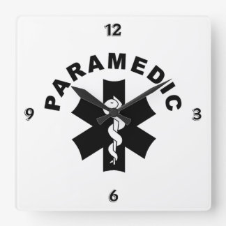 Paramedic Logo Theme Square Wall Clock