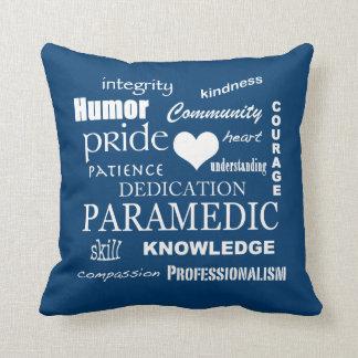 Paramedic Pride-White Heart/Text Design Throw Pillow