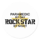 Paramedic Rock Star by Night Classic Round Sticker