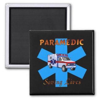 Paramedic Saving Lives 2 Inch Square Magnet