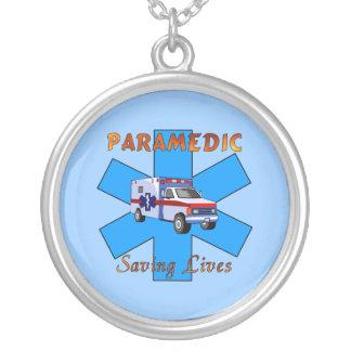 Paramedic Saving Lives Round Pendant Necklace