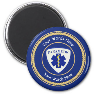Paramedic Star of Life Rope Shield Universal 2 Inch Round Magnet