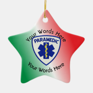 Paramedic Star Of Life Shield Ceramic Ornament