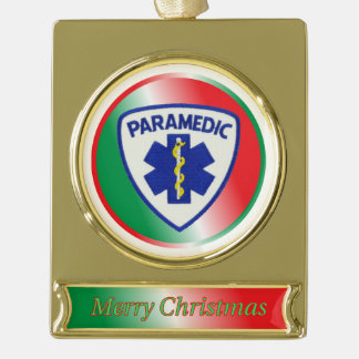 Paramedic Star of Life Shield Christmas Ornament Gold Plated Banner Ornament