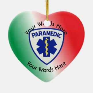 Paramedic Star Of Life Shield Ceramic Heart Ornament