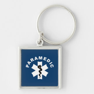Paramedic Star of Life Silver-Colored Square Keychain