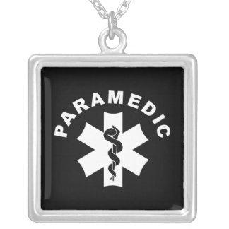 Paramedic Theme Square Pendant Necklace