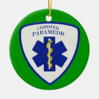 Paramédico certificado adorno navideño redondo de cerámica