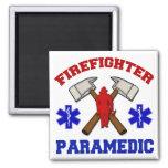 Paramédico del bombero imanes para frigoríficos