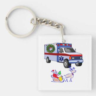 Paramedics EMT Christmas Double-Sided Square Acrylic Keychain