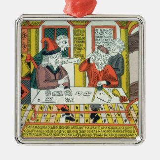 Paramoshka and Savoska (woodcut print) Metal Ornament