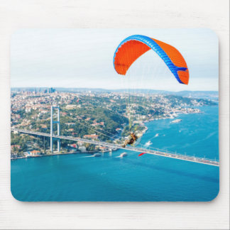 Paramotors Pilots Flying Over The Bosphorus Mouse Pad