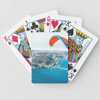 Paramotors Pilots Flying Over The Bosphorus Bicycle Poker Deck