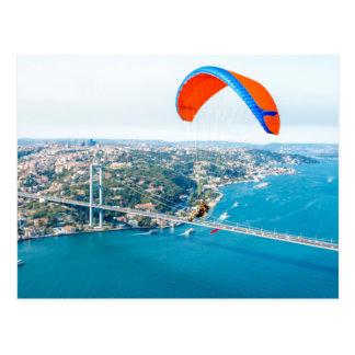 Paramotors Pilots Flying Over The Bosphorus Postcard