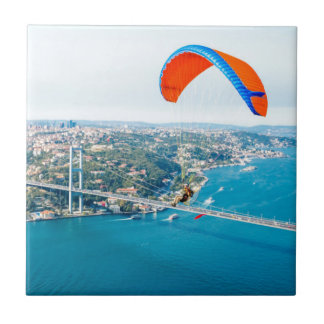 Paramotors Pilots Flying Over The Bosphorus Tile