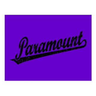 Paramount script logo in black distressed postcard