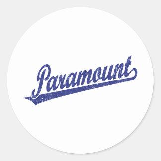 Paramount script logo in blue distressed classic round sticker