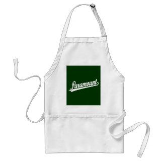 Paramount script logo in white adult apron