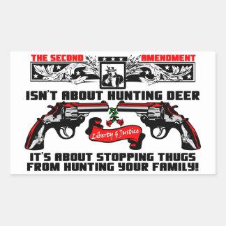 ¡Parando a gamberros de cazar a su familia! Pegatina Rectangular
