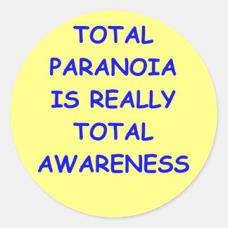 paranoia round stickers