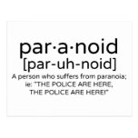 Paranoid Definition Postcards