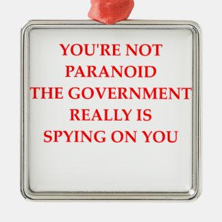 paranoid square metal christmas ornament