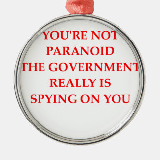paranoid round metal christmas ornament