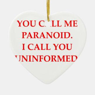 paranoid Double-Sided heart ceramic christmas ornament