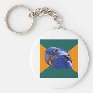 Paranoid Parrot Bird Advice Animal Meme Keychain
