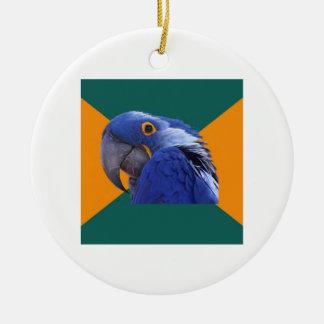 Paranoid Parrot Bird Advice Animal Meme Double-Sided Ceramic Round Christmas Ornament
