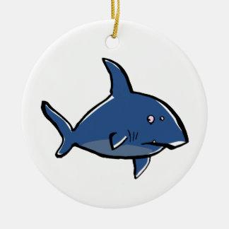paranoid shark Double-Sided ceramic round christmas ornament