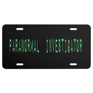 Paranormal Investigator - Black Background License Plate