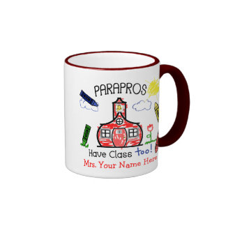 Parapros Have Class Too! Schoolhouse & Crayons Ringer Mug