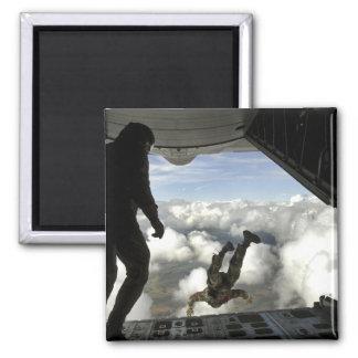 Pararescuemen jump out the back of a C-130 Fridge Magnet