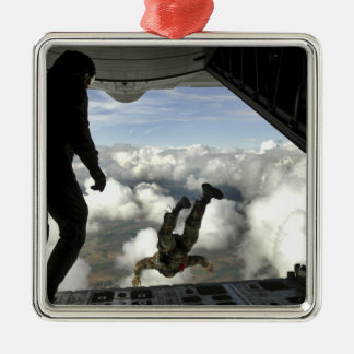 Pararescuemen jump out the back of a C-130 Christmas Ornament