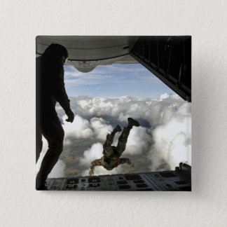 Pararescuemen jump out the back of a C-130 Pinback Button