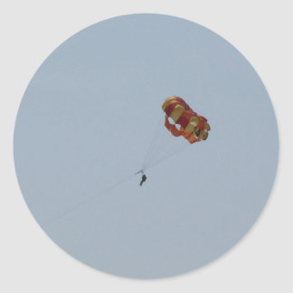 Parasailing Above the Ocean Classic Round Sticker