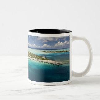 Parasailing over the beautiful lagoon of Bora 3 Two-Tone Coffee Mug